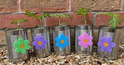 Hama bead tin can flower craft project