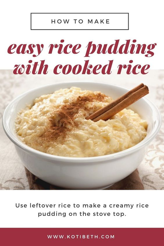 Easy Rice Pudding Recipe With Cooked Rice Stove Top