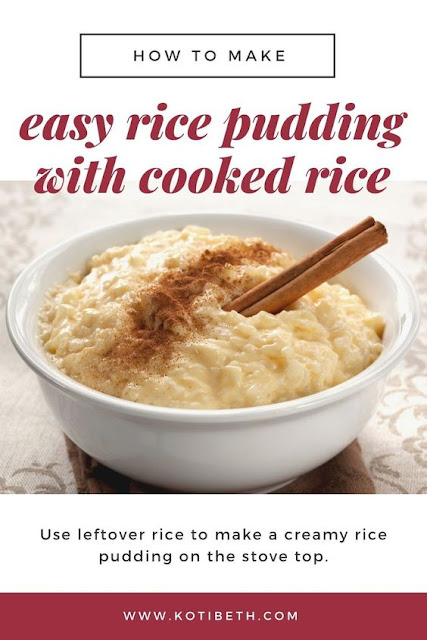 How to make easy rice pudding with leftover rice. This creamy recipe can be made with raisins or without. It's made with eggs and cinnamon on top.  It's quick to make on the stove top with left over rice. How to make the best simple rice pudding homemade in no time. This classic recipe is easy to make homemade with this recipe. #ricepudding #rice #dessert