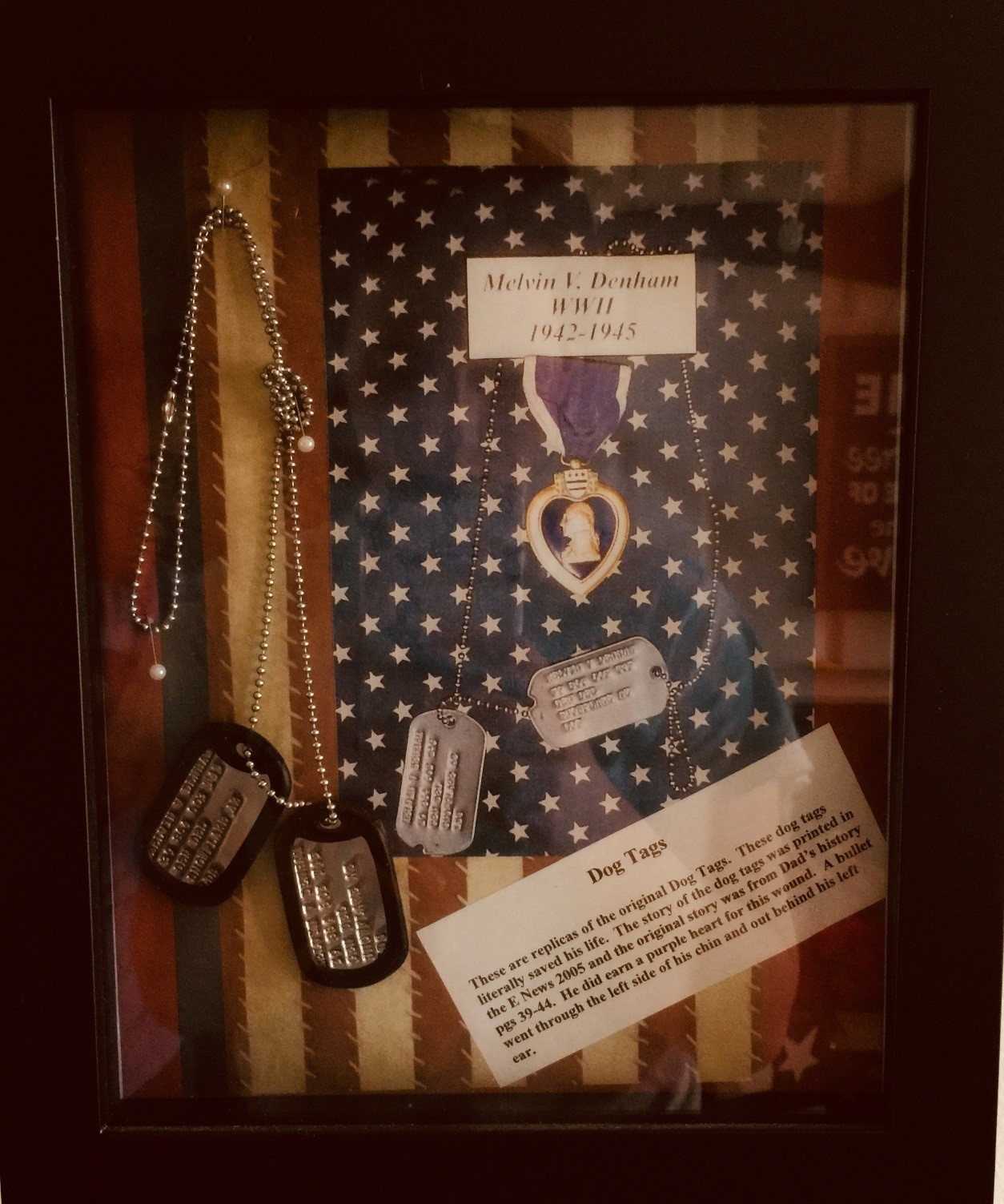this picture is a replica of the original dog tags these dog tags literally saved melvin s life the story of the dog tags was published in the e news 2005