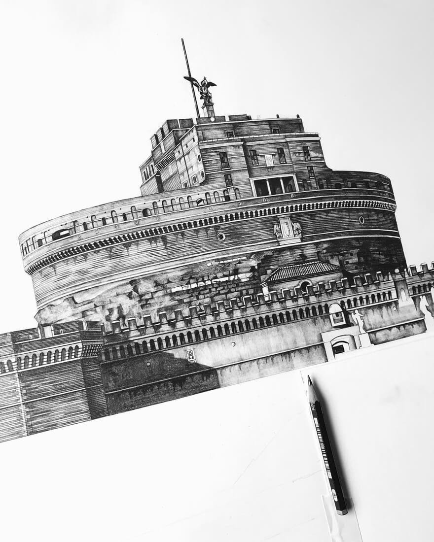 03-Castel-Sant-Angelo-Rome-Italy-Minty-Sainsbury-Traditional-Architecture-Drawings-in-Pencil-www-designstack-co
