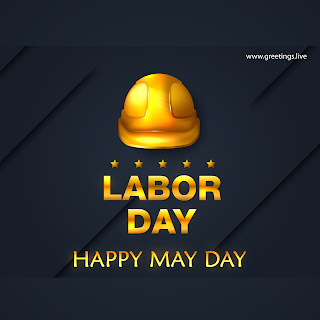 International Labor day wishes image.Happy May day workers helmet in Golden color
