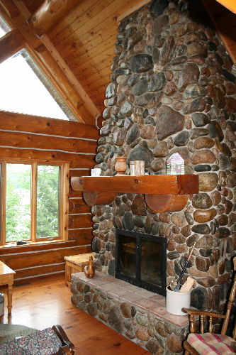 giant fieldstone fireplace | Gypsy River