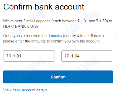 PayPal India bank account confirmation - entering the funds info.