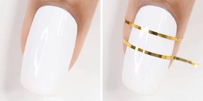 truque unhas decoradas com esmalte branco