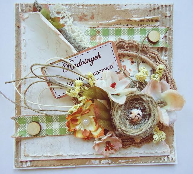 kartka świąteczna z szudełkową ramką, wielkanoc, dekoracje:)