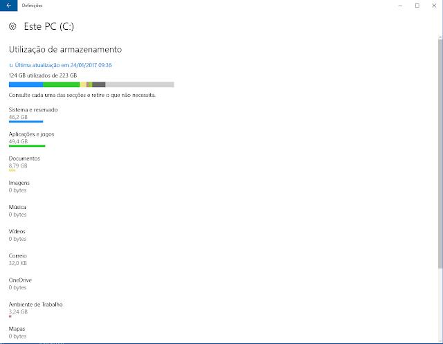 Definições Windows Armazenamento