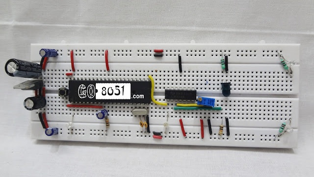 Interfacing LM324 Comparator IC with IR(Infra Red Light) Sensor and 8051 Microcontroller on Bread Board
