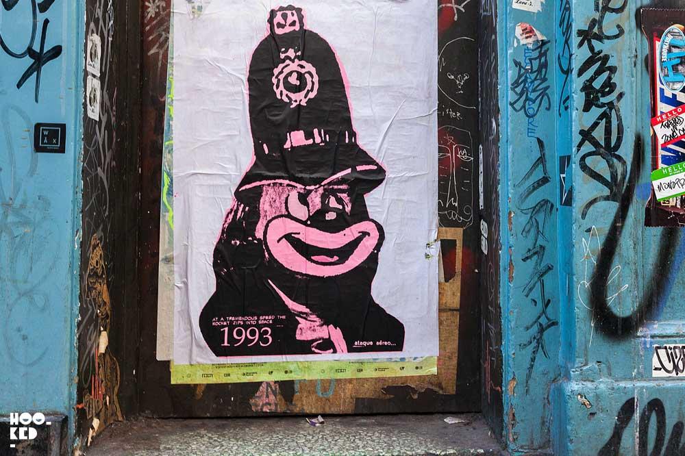 Shoreditch street art paste-ups by artist A.ce London on Redchurch Street