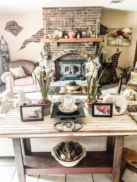 rustic table behind couch