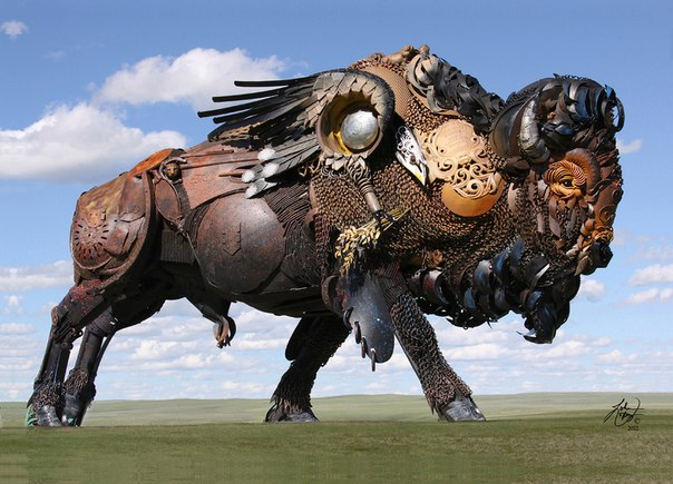 Animals steampunk in scrap metal recycling 003