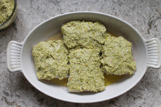 Food Lust People Love: Baked Cod with Asparagus Pesto is delicious and pretty enough for company but simple enough for a weeknight family meal. The pesto adds loads of flavor while also protecting the cod from drying out as it bakes. Win-win!
