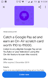 , GET UPTO RS.1000 ON SCRATCH CARD FROM GOOGLE PAY FREE (RS.10 ASSURED FROM SCRATCH CARD)