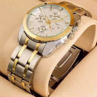 Stainless Steel Quartz Wrist Watch For Men - Golden Fleetworkers