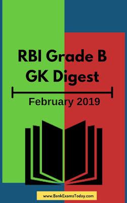 RBI Grade B GK Digest: February 2019