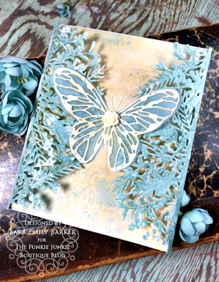 Sizzix Olivia Rose Foliage Wrap Tim Holtz Scribbly Butterfly Wrapped Card for The Funkie Junkie Boutique by Sara Emily Barker 1