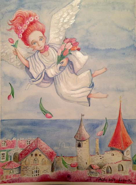 #AideLL #watercolor #angel #haapsalu #castle #drawing #painting #art #illustration #childrenillustration #botticelliinspired