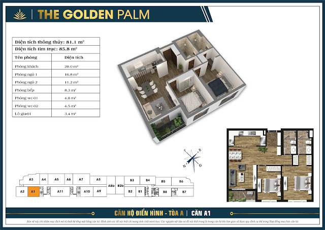 Căn A1 - 81m - The Golden Palm