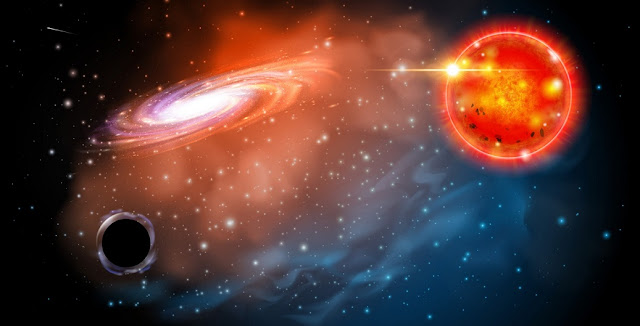 An artist's rendering of the black hole astrophysicists identified in this study. The black hole (bottom left) is seen near a red giant star. The discovery shows there may be an entire class of black holes astronomers did not know existed.