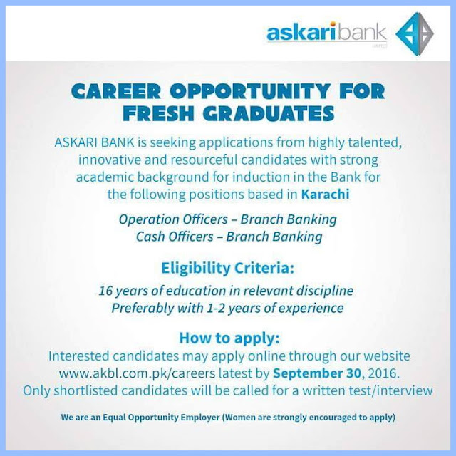 Jobs in Askari Bank Karachi Jobs