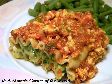 Finished Spinach Lasagna Roll-Ups with Tofu Marinara Sauce
