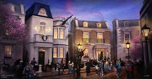 Mary Poppins Cherry Tree Lane Concept Art Epcot