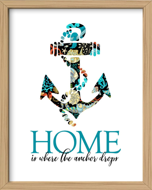 Home is Where the Anchor Drops Quote Art Print Downloadable