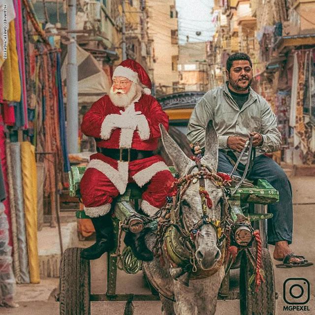 بالصور.. بابا نويل يتجول في الأحياء الشعبية في مصر.. ما هي المأكولات التي سيتناولها والهدايا التي سيقدمها؟