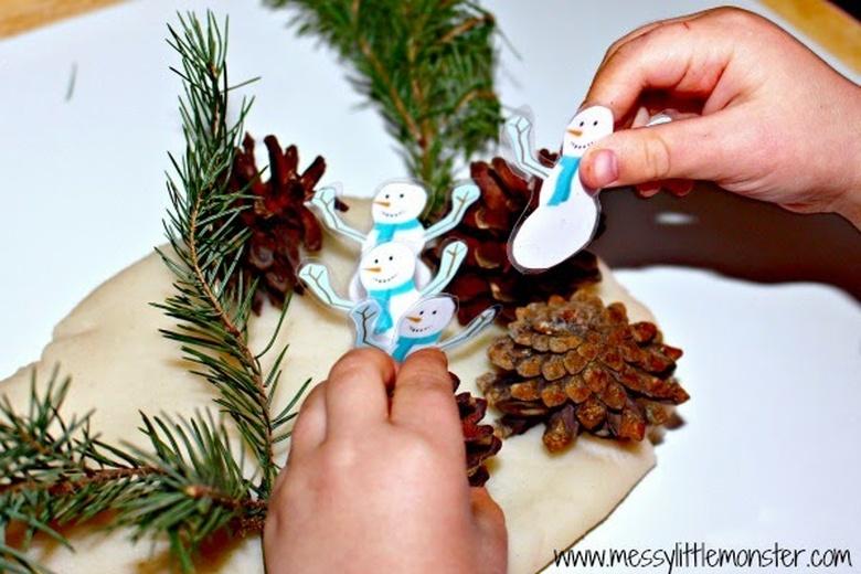 playdough snow activities for kids