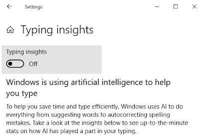 Cara menonaktifkan fitur Typing Insights Windows 10-2