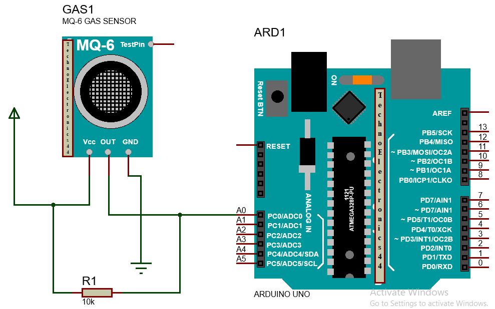 MQ6 GAS SENSOR -ARDUINO-CIRCUIT-TechnoElcectronics44