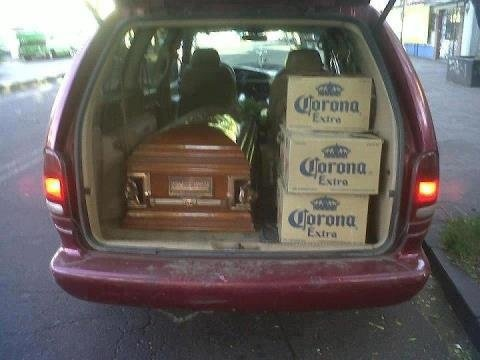 Funny Funeral Coffin Beer Hearse Picture