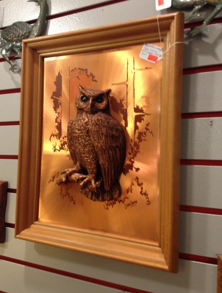 Vintage Framed Copper Owl