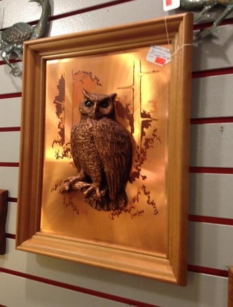 Vintage Framed Copper Owl