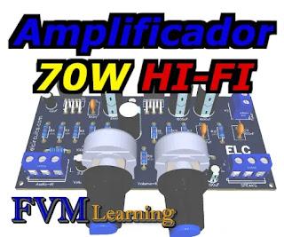 Amplificador HI-FI 70W Estéreo - Alta Fidelidade com o TDA2050 + PCI