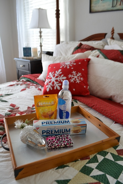 Make a guest bedroom essential tray