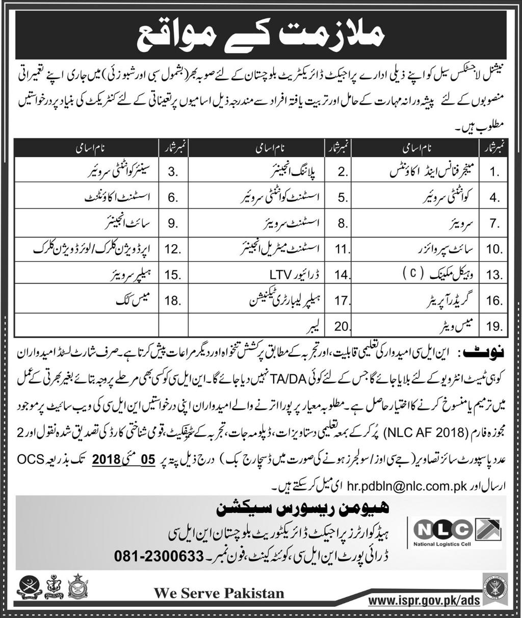 Jobs In National Logistics Cell April 2018 Balochistan