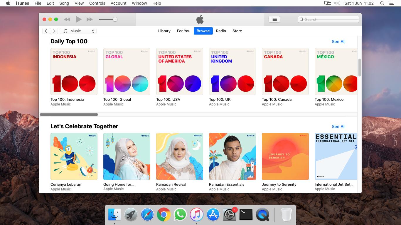 iTunes macOS Mojave
