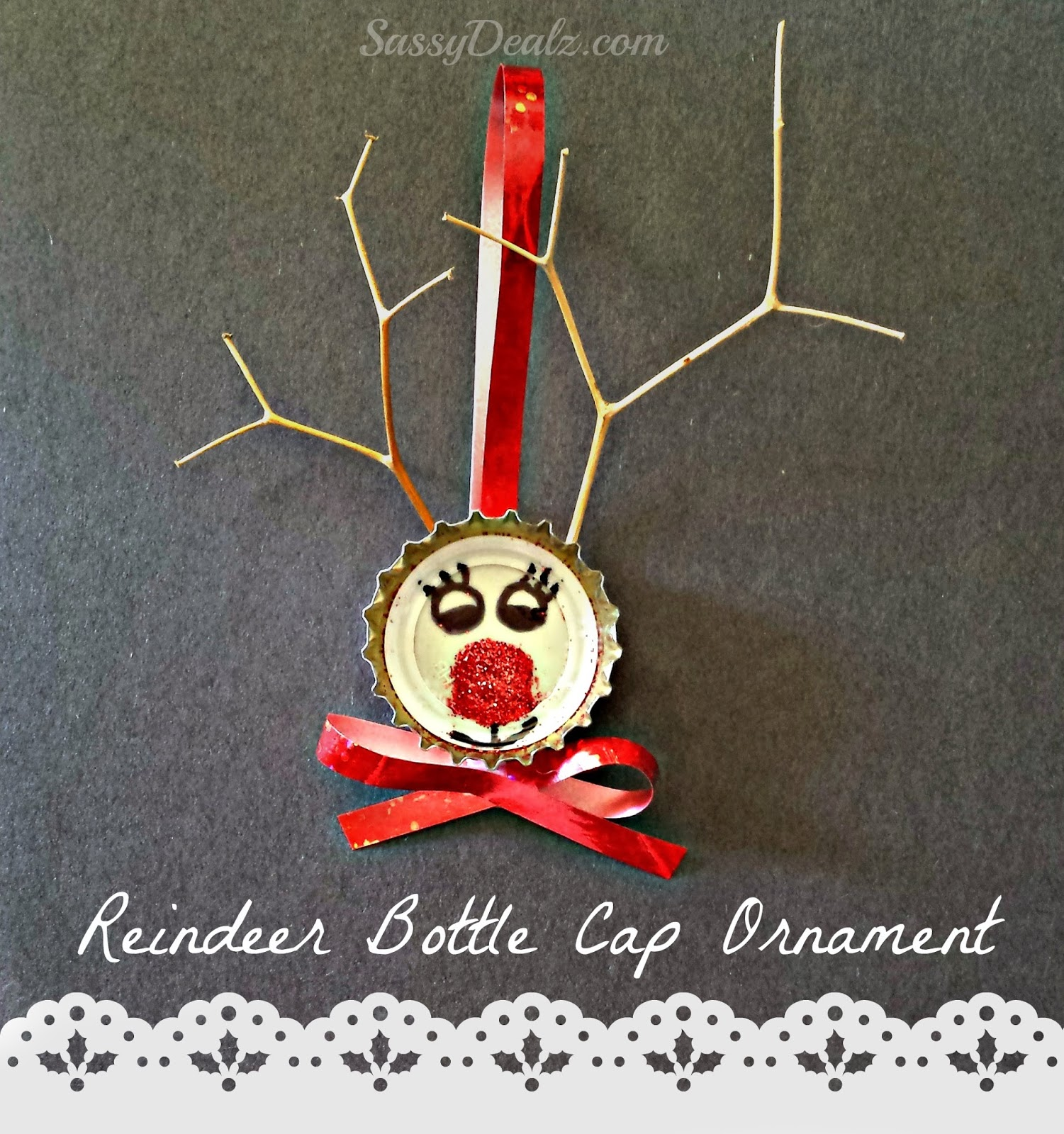 Bottle Cap Reindeer Christmas Craft For Kids Cute Ornament Idea