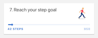 Screenshot of a walking emoji guy next to the words: Reach your step goal. A little slider tells me I have walked 42 steps.