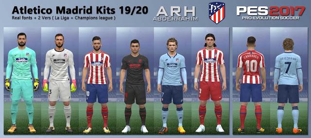 PES 2017 Atletico Madrid Kits 19/20 by ARH