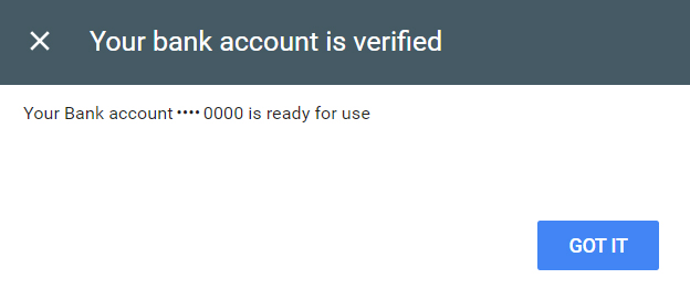it will show the verification status of your bank account.