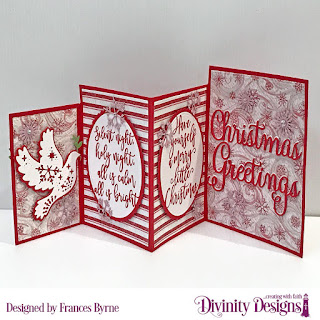 Stamp Set: Silent Night  Custom Dies: Four Panel Card with Layers, Christmas Dove, Christmas Greetings, Ovals, Scalloped Ovals  Paper Collection: Snowflake Season