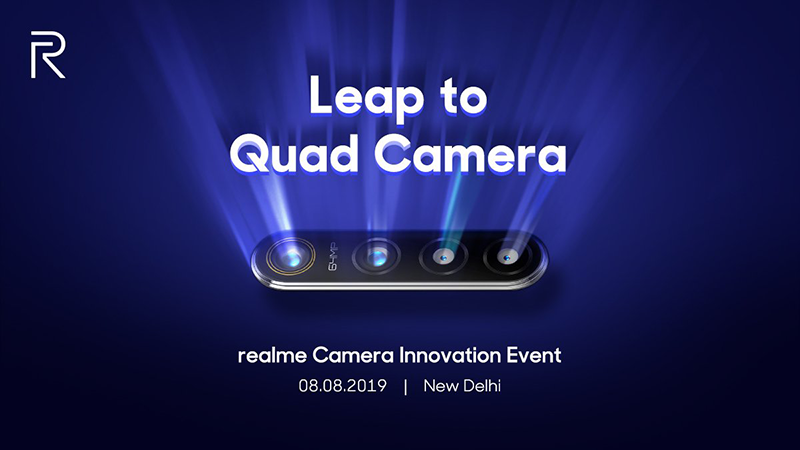 Get ready! Realme will reveal its first 64MP quad-cam tech on August 8!