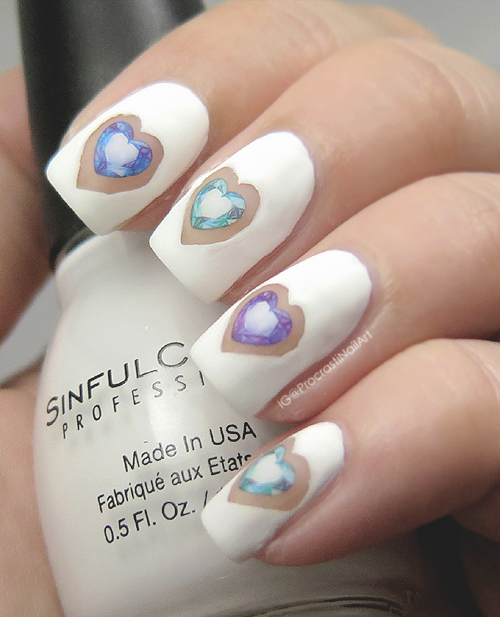 Negative Space Jewelled Heart nail art