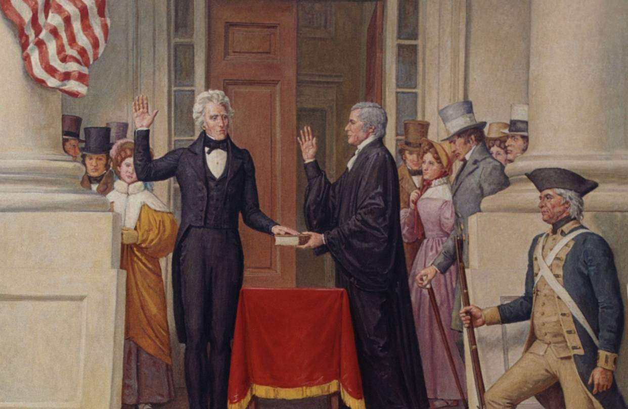 john brown s notes and essays trump herald a new political image from article caption president andrew jackson taking the oath of office