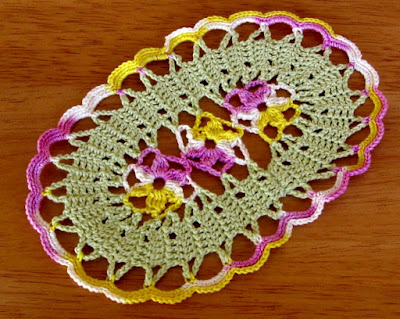 Viola Flower Coasters - Oval with Purple and Yellow Flowers - Handmade By RSS Designs In Fiber