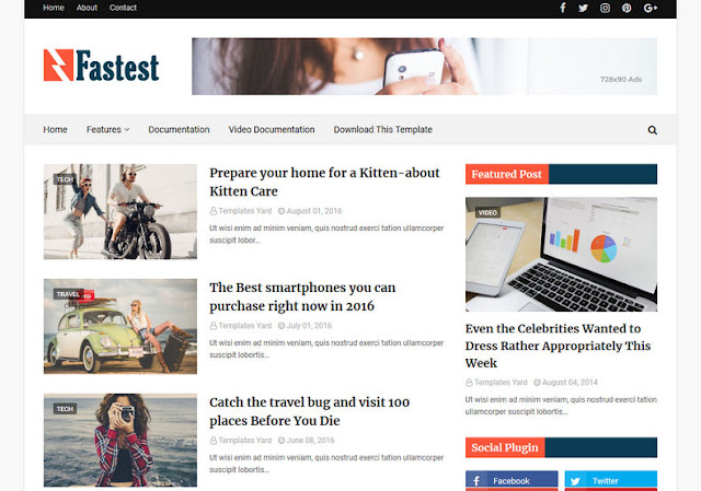 Fastest Responsive Blogger Template Free Downoad