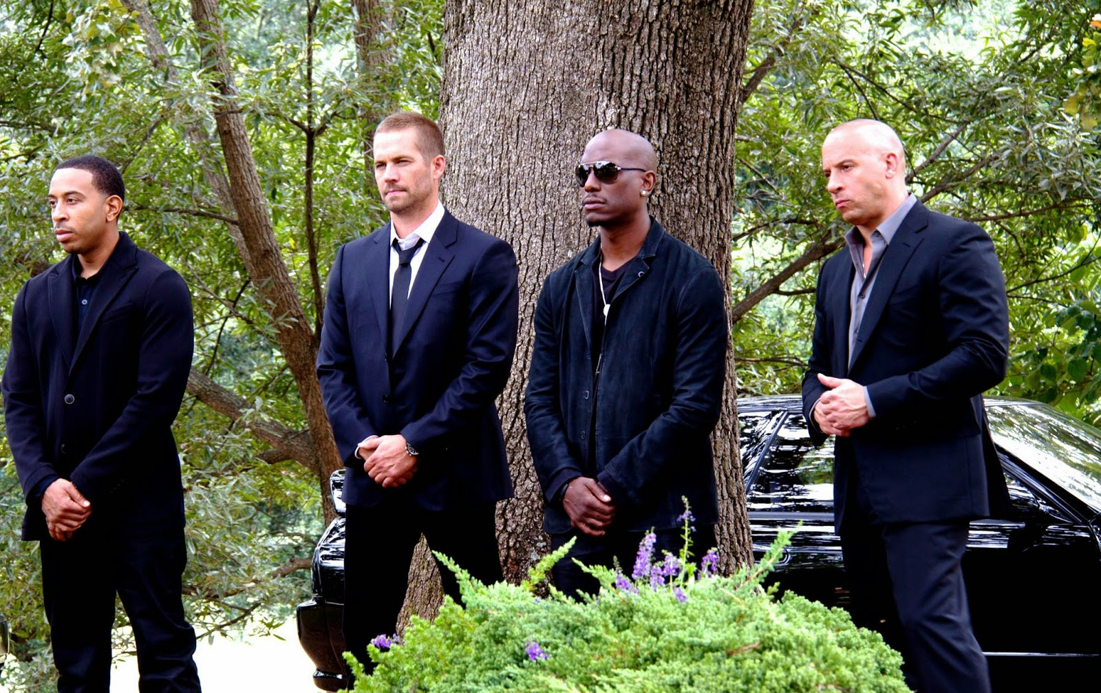 Toretto with family, attending funeral, Paul Walker, Vin Diesel, Fast & Furious 7, Directed by James Wan