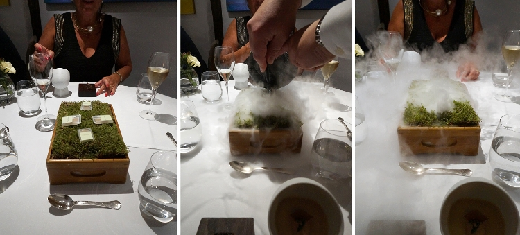 Euriental | dinner at the Fat Duck, Bray, by Heston Blumenthal. Jelly of quail with crayfish cream.